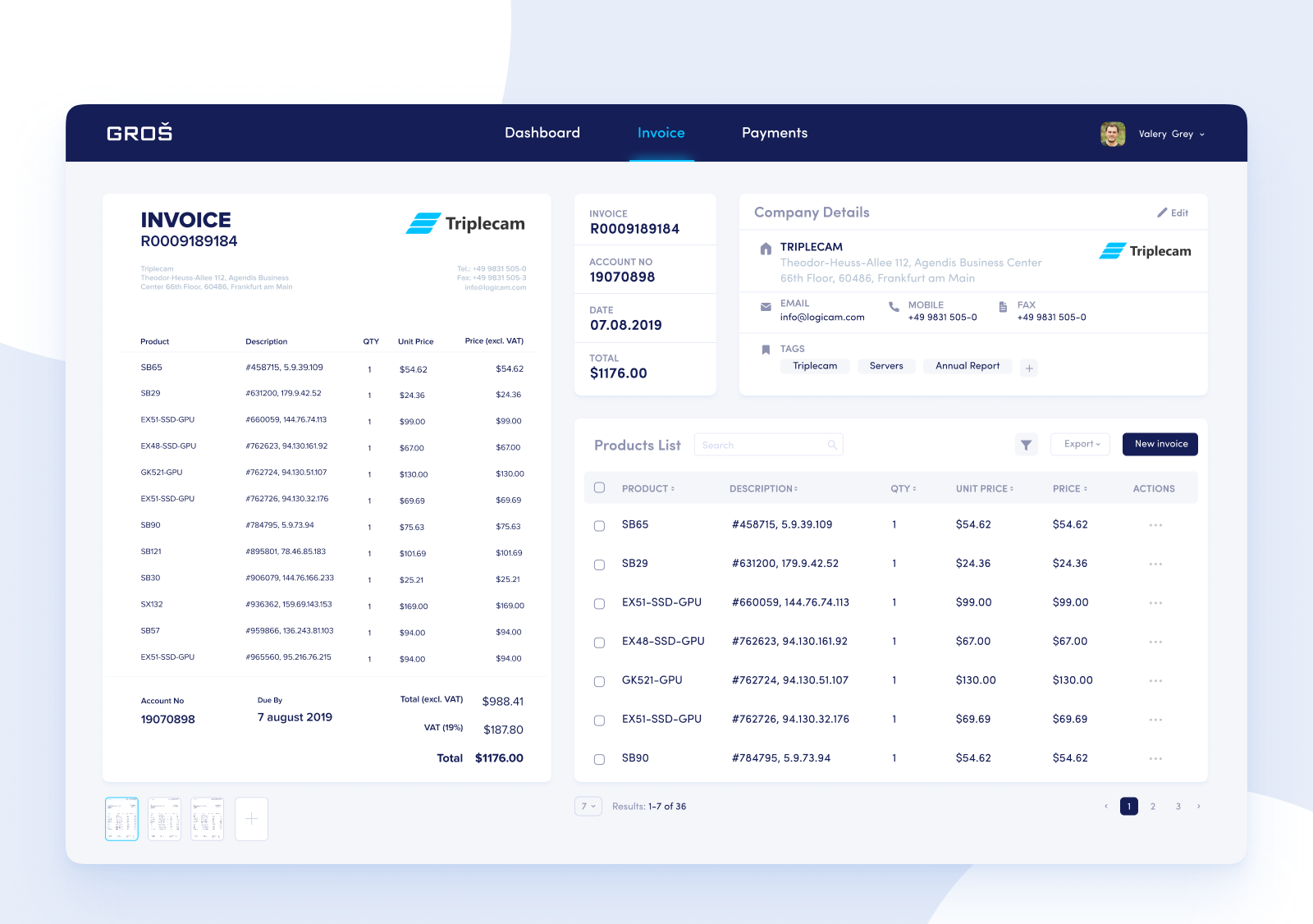Automated data capture from invoices